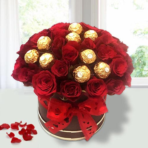 Beautiful Red Roses N Ferrero Rocher in Flower Bucket