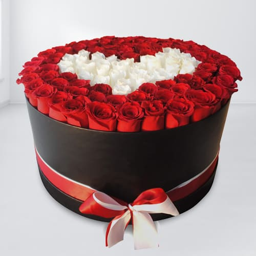 Classic Box of Red N White Roses