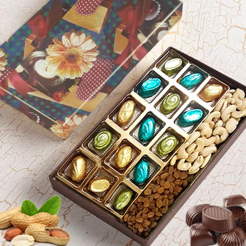 Flavorsome Assorted Homemade Chocolates with Dry Fruits