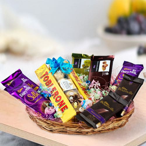 Tempting Assorted Chocolates Gifts Basket