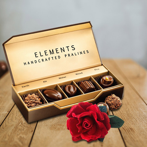 Chocolate Box from ITC with Velvet Red Rose Combo