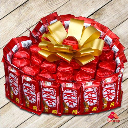 Luxurious Heart Shape Bouquet of Nestle Kitkat with Handmade Chocolates