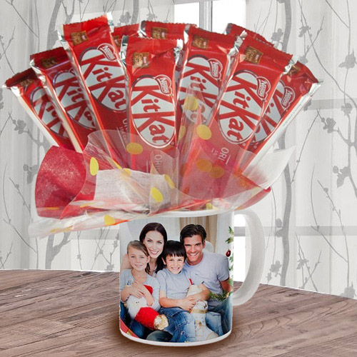 Amazing Bouquet of Kitkat in Personalized Coffee Mug