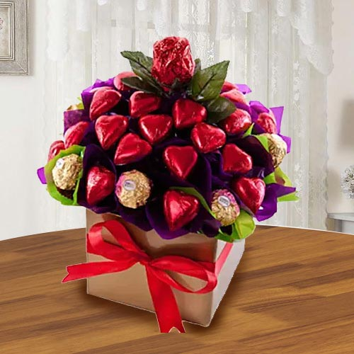 Delightful Ferrero Rocher n Heart Shaped Hand-made Chocolates Arrangement
