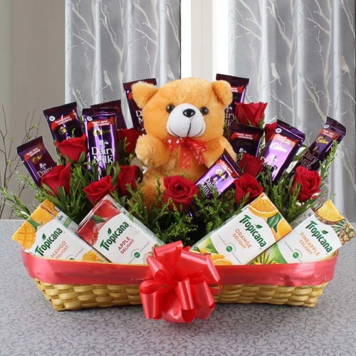 Remarkable Basket of Chocolates, Fruit Juice N Teddy