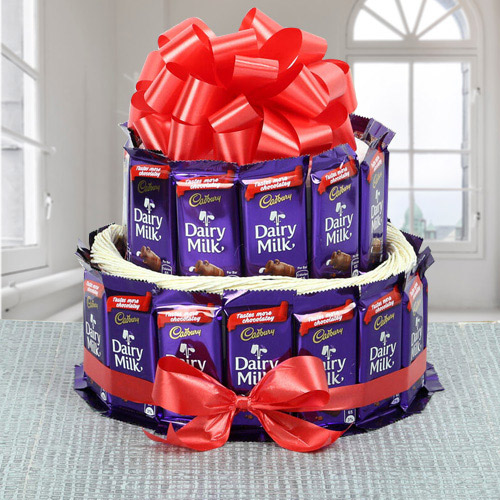 Marvellous 2 Tier Arrangement of Cadbury Dairy Milk Chocolates