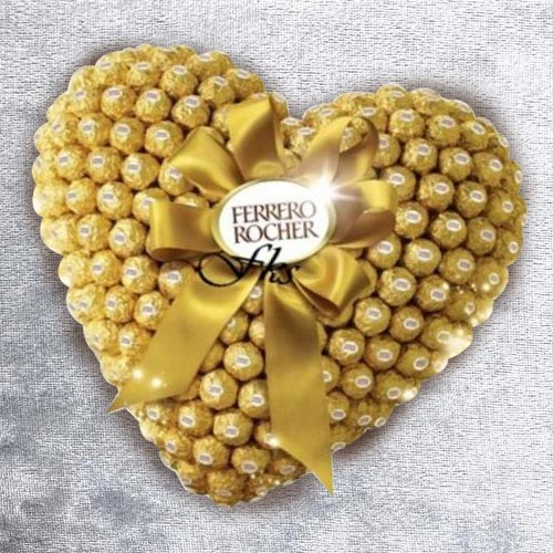 Marvelous Heart Shaped Arrangement of Ferrero Rocher Chocolate