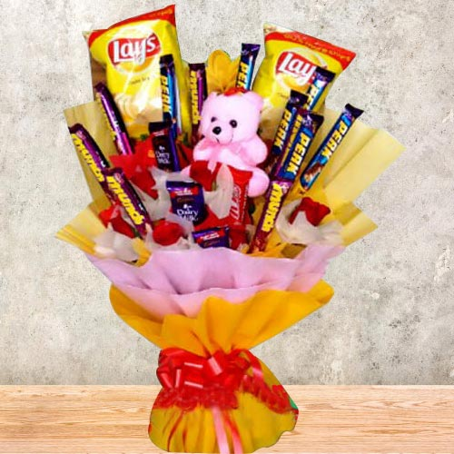 Marvelous Bouquet of Chocolates, Chips N Teddy