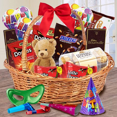 Exclusive Gift Basket of Chocolates, Teddy N Assortments
