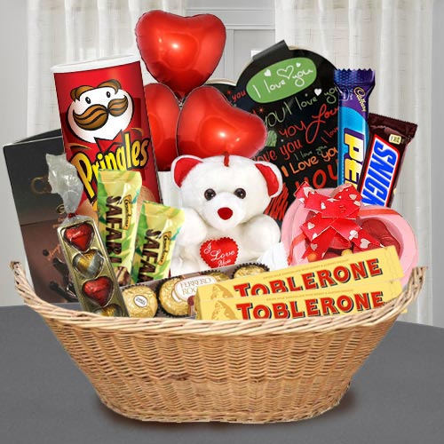 Exquisite Chocolate Gift Basket with Teddy N Balloons
