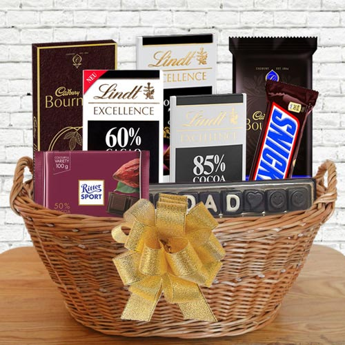 Exquisite Gift Basket of Dark Chocolates for Papa