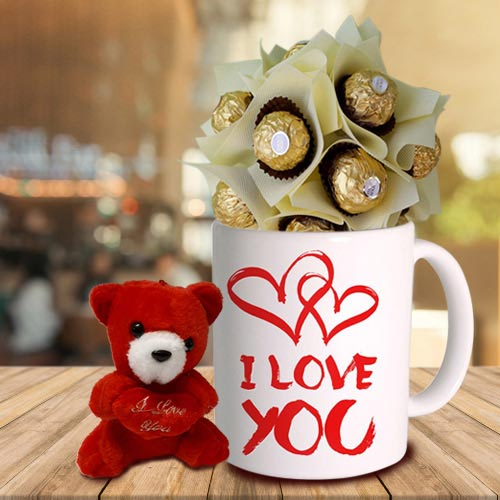 Teddy with Pesonalized Coffee Mug N Ferrero Rocher