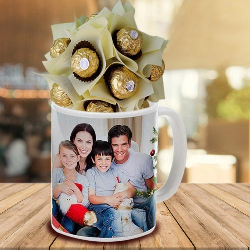 Exquisite Personalized Coffee Mug with Ferrero Rocher