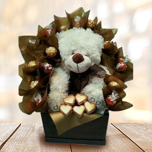 Wonderful Teddy with Handmade Chocolates Arrangement