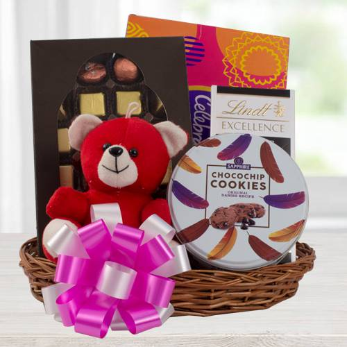Delectable Chocolate Gift Basket with Teddy