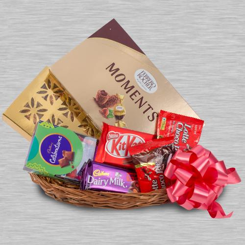 Tempting Chocolaty Gifts Basket for Kids