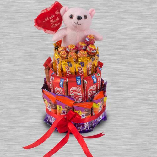 Treasured 4 Layer Chocolates n Teddy Arrangement