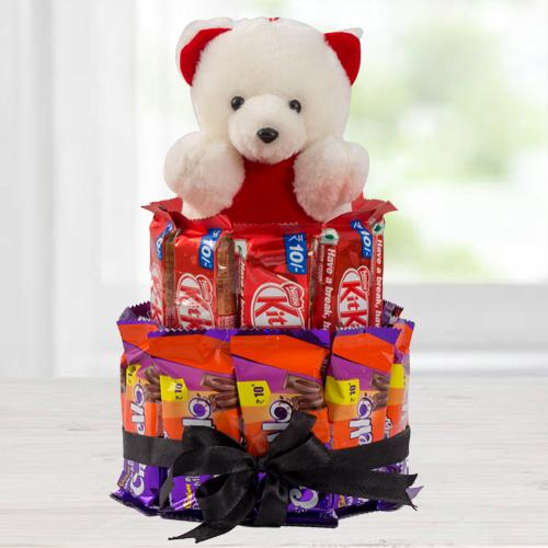 Tempting Chocolate n Teddy Arrangement