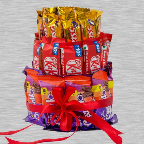 Delicate 3 Layer Arrangement of Kitkat, 5 Star n Crispello