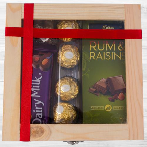 Special Wooden Gift Box of Assorted Chocolates
