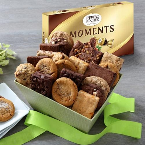 Tasty Brownies with Cookie Mans Assorted Cookies Gift Box