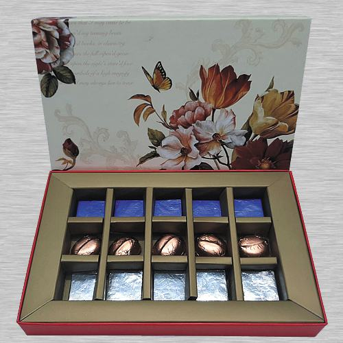 Pleasurable Box of Dry Fruit Filled Handmade Chocolates