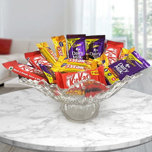 Ambrosial Mixed Chocolate Assortments in Glass Fruit Vase