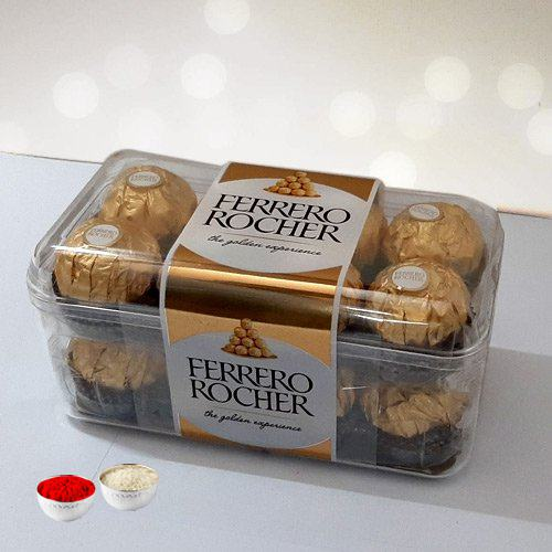 Delecious 16 pcs  Ferrero Rocher Chocolates with free Roli Tilak and Chawal