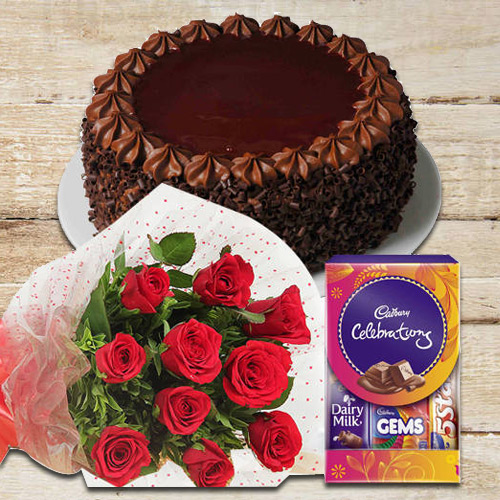 Chocolate Cake with Red Rose N Cadbury Celebrations Pack