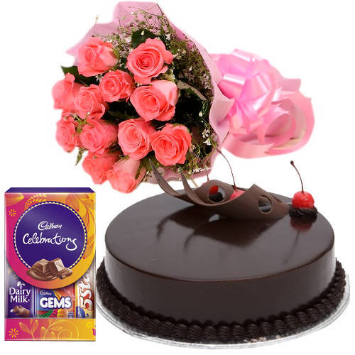 Pink Roses with Chocolate Cake N Cadbury Celebrations Pack
