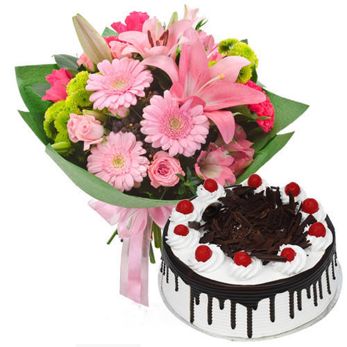 Assorted Flowers Bunch with Black Forest Cake