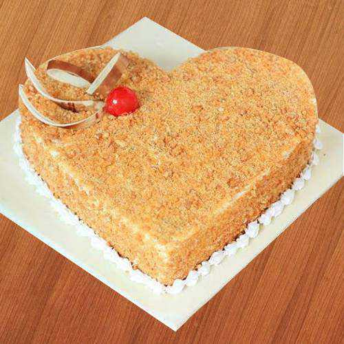 Classic Butter Scotch Heart-Shape Cake