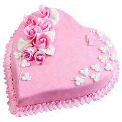 Delectable Heart-Shaped Strawberry Cake
