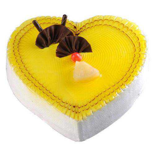 Appetizing Pineapple Cake in Heart-Shape
