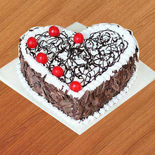 Cherry Delight Black Forest Cake in Heart-Shape