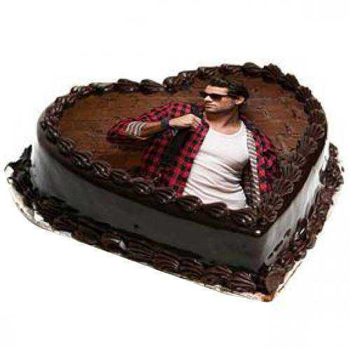 Chocolate Delight Heart Shape Photo Cake