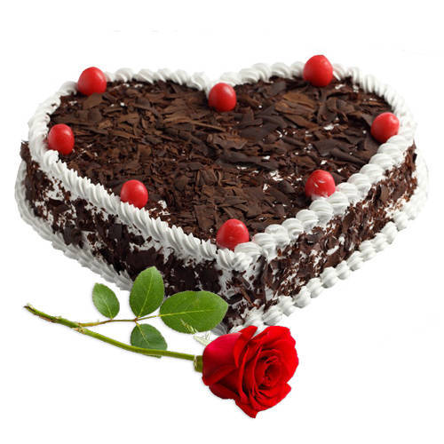 Elegant Wishes Red Rose with Heart Shape Black Forest Cake