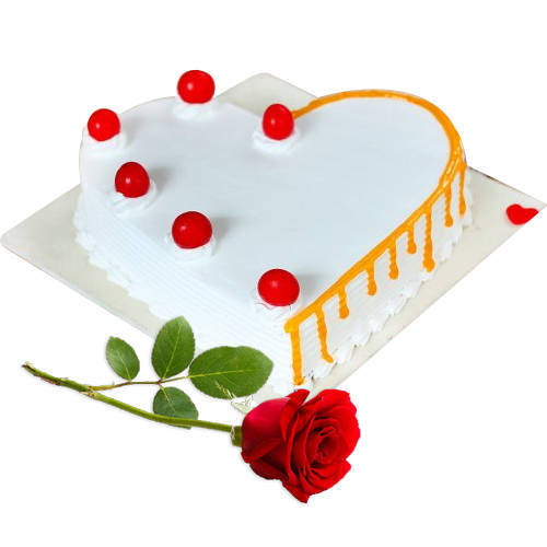 Sweet Heart-Shape Vanilla Cake with Red Rose