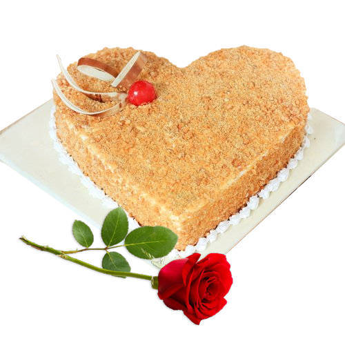 Premium Heart-Shape Butter Scotch Cake with Single Rose