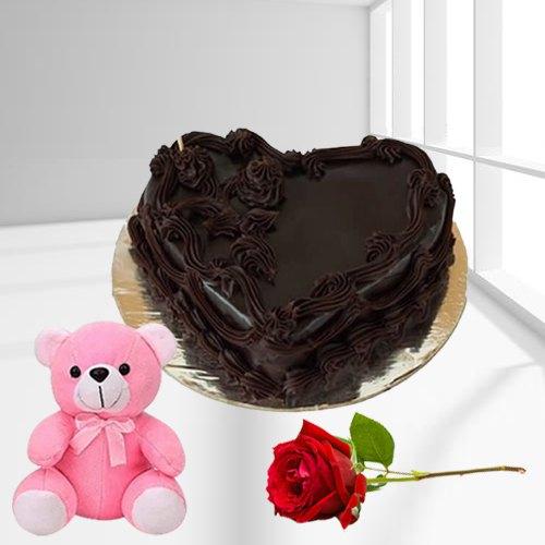 Bakery-Style Heart Shape Chocolate Cake with Teddy N Single Rose