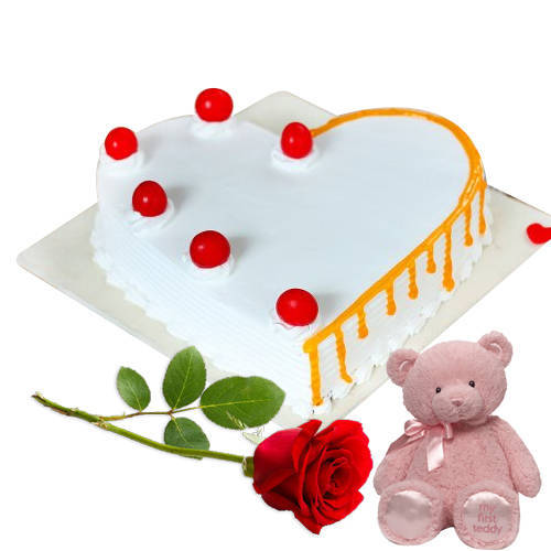 Lovingly Made Heart Shape Vanilla Cake with Single Rose N Teddy