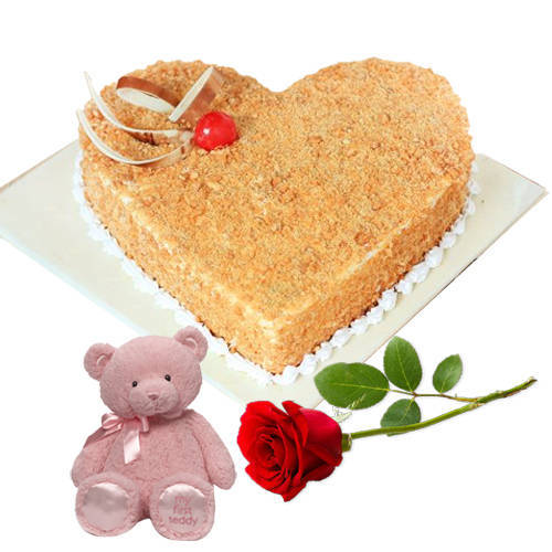 Elegant Heart Shape Butter Scotch Cake with Red Rose N Teddy