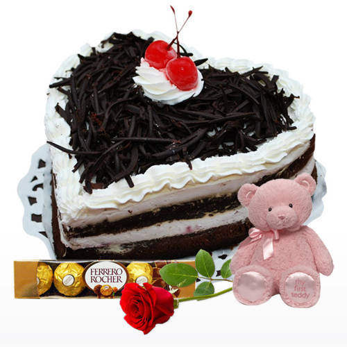 Best Quality Heart Shape Black Forest Cake with Ferrero Rocher, Teddy N Red Rose