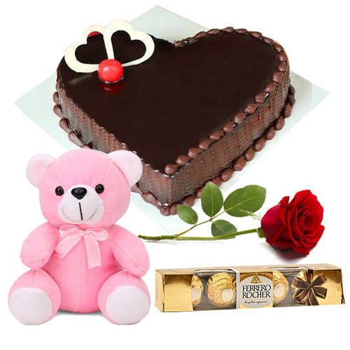 Yummy Chocolate Love Cake with Red Rose, Ferrero Rocher N Teddy