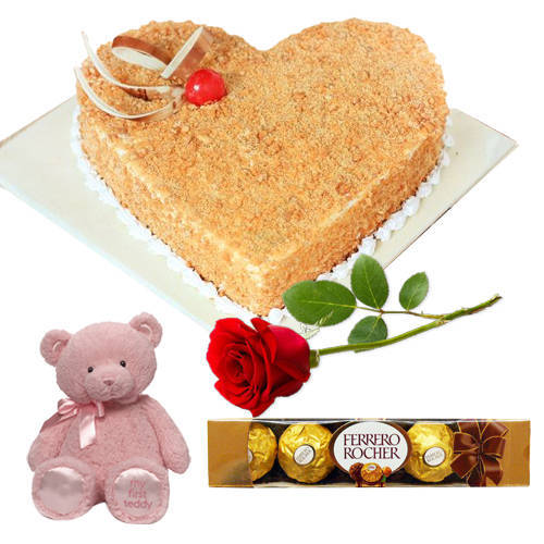Butter Scotch Cake with Teddy, Red Rose N Ferrero Rocher