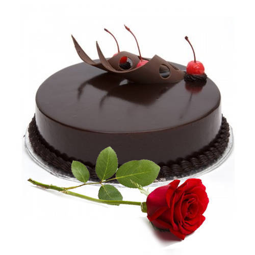 Delicious Eggless Chocolate Cake with Single Rose