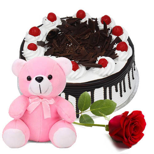 Delectable Black Forest Eggless Cake with Single Rose N Teddy