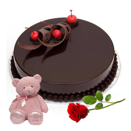 Delectable Chocolate Cake with Red Rose N Teddy