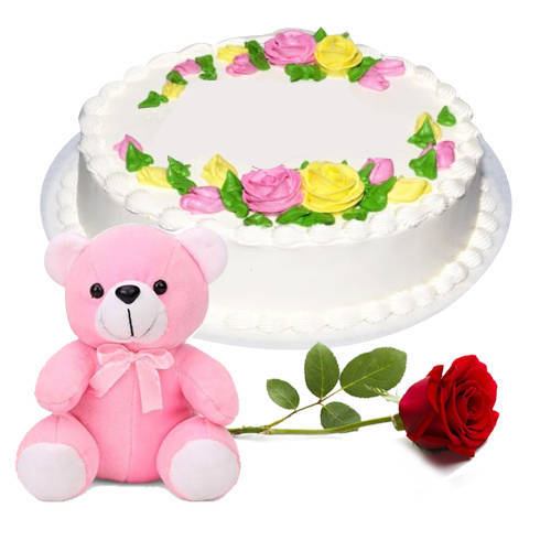 Oven-Fresh Vanilla Cake with Red Rose N Teddy