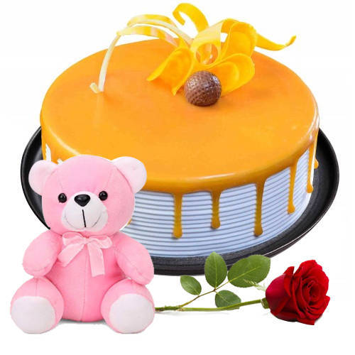 Fantastic Butter Scotch Cake with Red Rose N Teddy